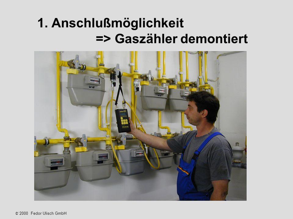 1. Anschlußmöglichkeit => Gaszähler demontiert ©` 2000 Fedor Ulisch GmbH