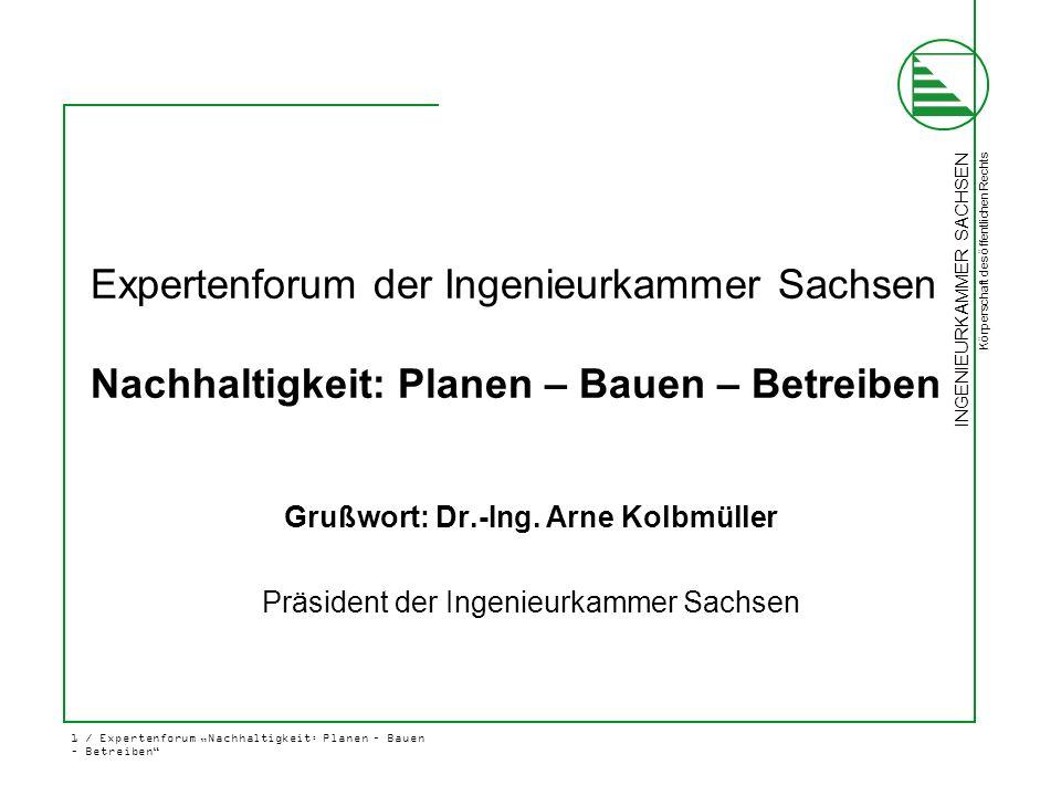 """INGENIEURKAMMER SACHSEN Körperschaft des öffentlichen Rechts 2 / Expertenforum """"Nachhaltigkeit: Planen – Bauen – Betreiben Andreas Bachmann Nachhaltiges Bauen = Summe aller Kompetenzen"""
