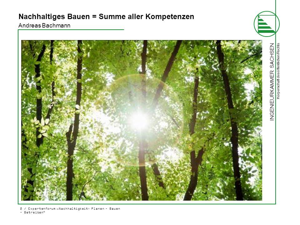 """INGENIEURKAMMER SACHSEN Körperschaft des öffentlichen Rechts 2 / Expertenforum """"Nachhaltigkeit: Planen – Bauen – Betreiben"""" Andreas Bachmann Nachhalti"""