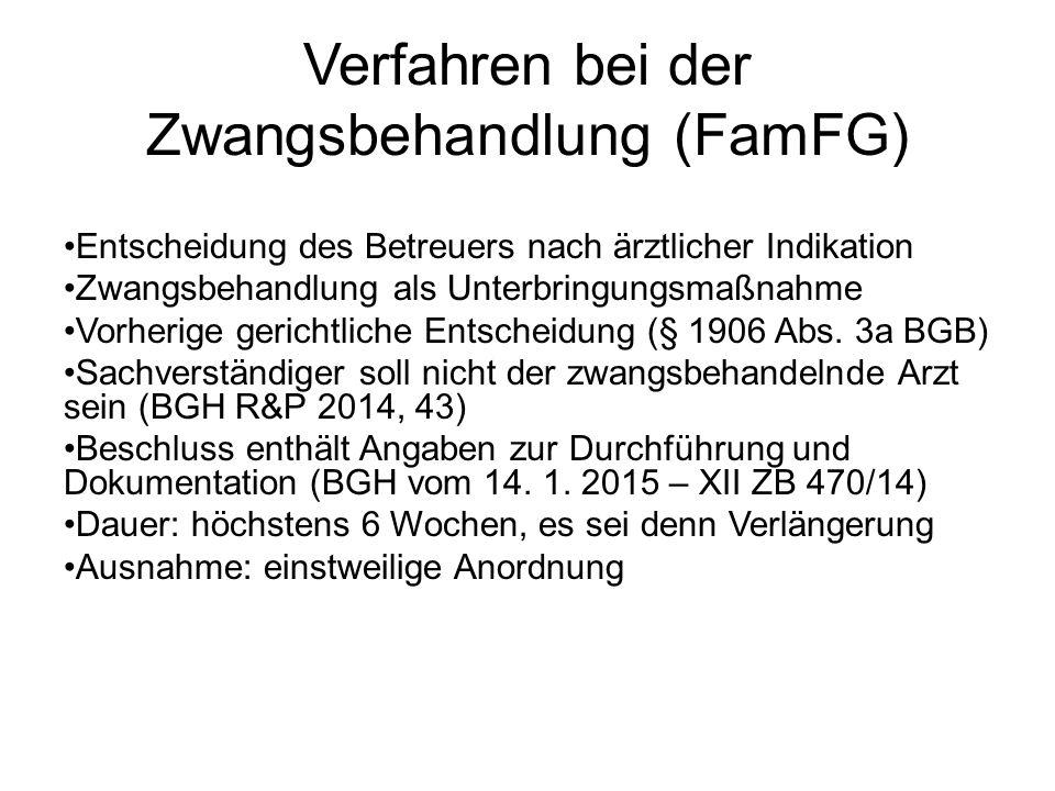 Verfahren bei der Zwangsbehandlung (FamFG) Entscheidung des Betreuers nach ärztlicher Indikation Zwangsbehandlung als Unterbringungsmaßnahme Vorherige