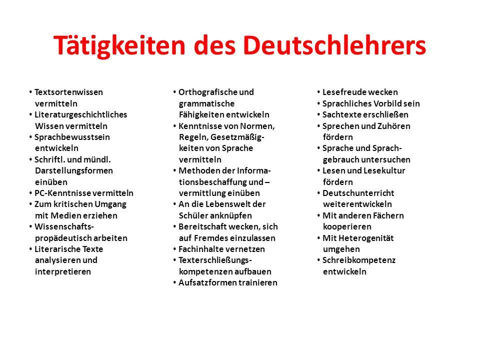 Tätigkeiten des Deutschlehrers Textsortenwissen vermitteln Literaturgeschichtliches Wissen vermitteln Sprachbewusstsein entwickeln Schriftl. und mündl