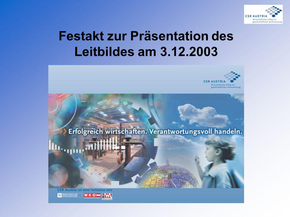 Festakt zur Präsentation des Leitbildes am 3.12.2003
