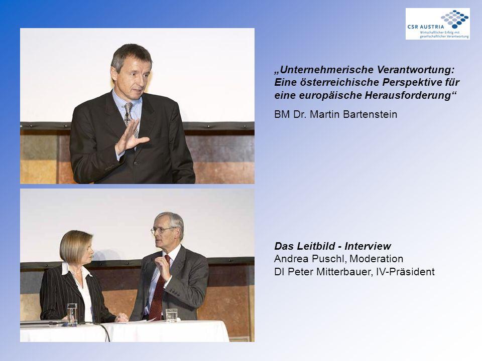 """Das Leitbild - Interview Andrea Puschl, Moderation DI Peter Mitterbauer, IV-Präsident """"Unternehmerische Verantwortung: Eine österreichische Perspektiv"""