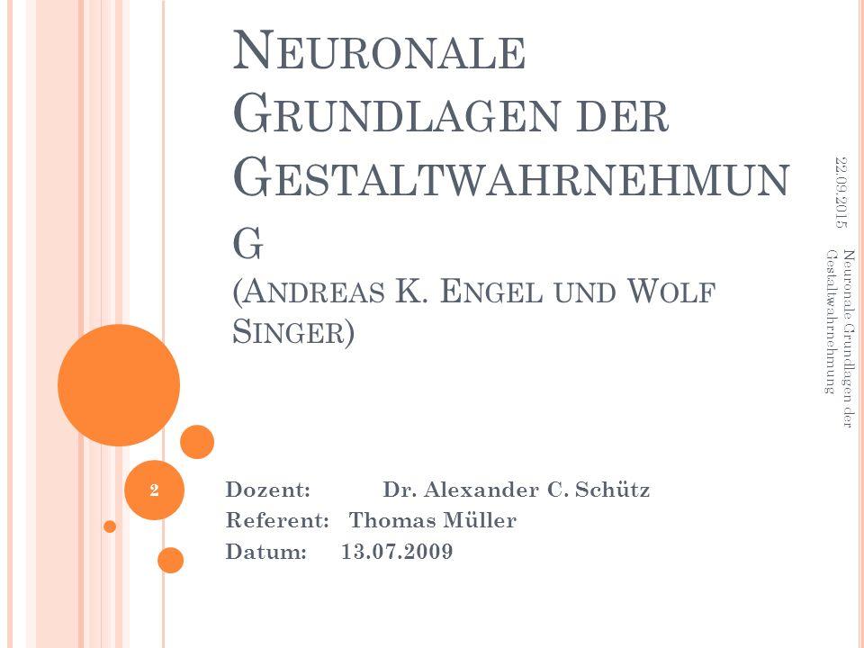N EURONALE G RUNDLAGEN DER G ESTALTWAHRNEHMUN G (A NDREAS K. E NGEL UND W OLF S INGER ) Dozent: Dr. Alexander C. Schütz Referent: Thomas Müller Datum: