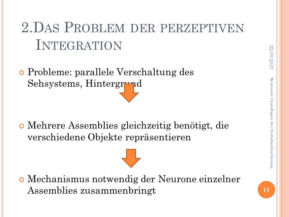 2.D AS P ROBLEM DER PERZEPTIVEN I NTEGRATION Probleme: parallele Verschaltung des Sehsystems, Hintergrund Mehrere Assemblies gleichzeitig benötigt, di