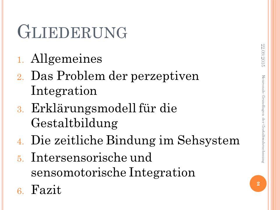 G LIEDERUNG 1. Allgemeines 2. Das Problem der perzeptiven Integration 3. Erklärungsmodell für die Gestaltbildung 4. Die zeitliche Bindung im Sehsystem
