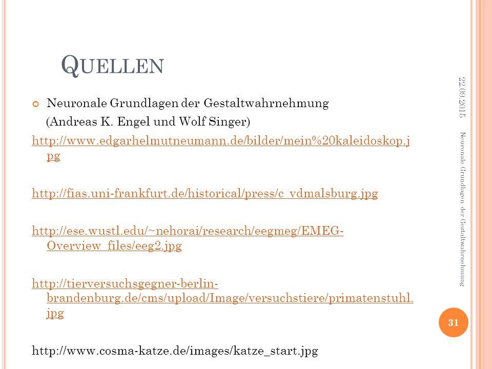 Q UELLEN Neuronale Grundlagen der Gestaltwahrnehmung (Andreas K. Engel und Wolf Singer) http://www.edgarhelmutneumann.de/bilder/mein%20kaleidoskop.j p