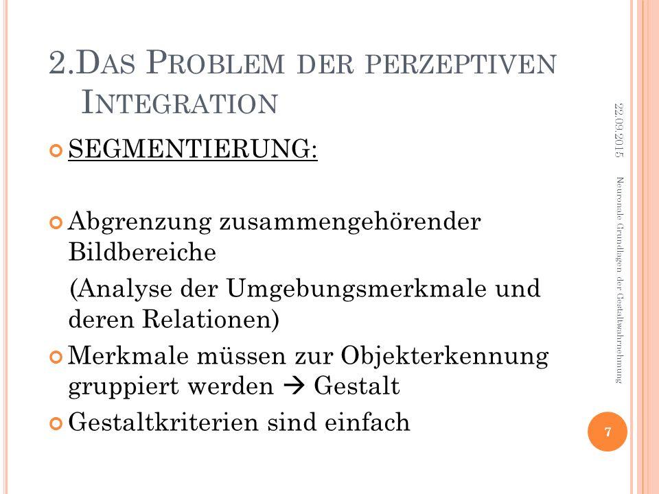 2.D AS P ROBLEM DER PERZEPTIVEN I NTEGRATION SEGMENTIERUNG: Abgrenzung zusammengehörender Bildbereiche (Analyse der Umgebungsmerkmale und deren Relati