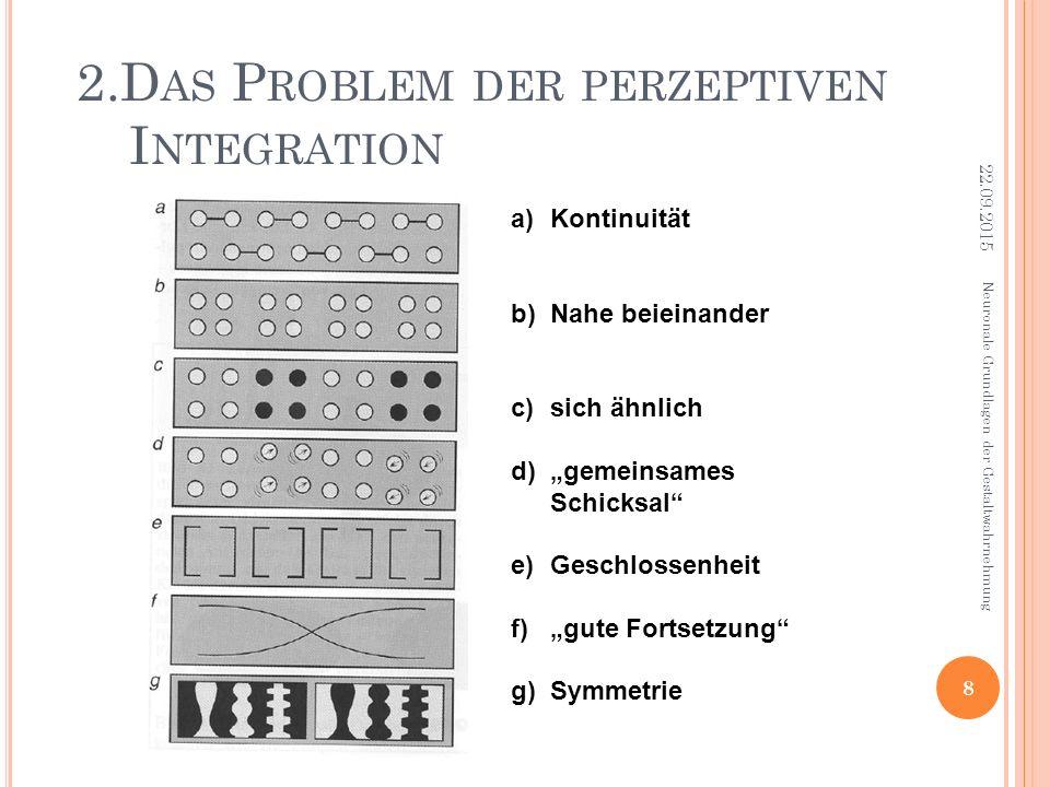 2.D AS P ROBLEM DER PERZEPTIVEN I NTEGRATION Neurone im Sehsystem reagieren nur auf einfache Merkmale und Teilaspekte Hell-Dunkel-Kontur Neuronale Grundlagen der Gestaltwahrnehmung 22.09.2015 9