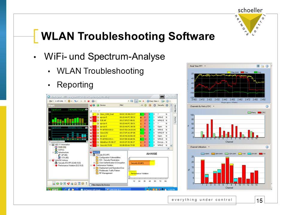 15 WLAN Troubleshooting Software WiFi- und Spectrum-Analyse WLAN Troubleshooting Reporting