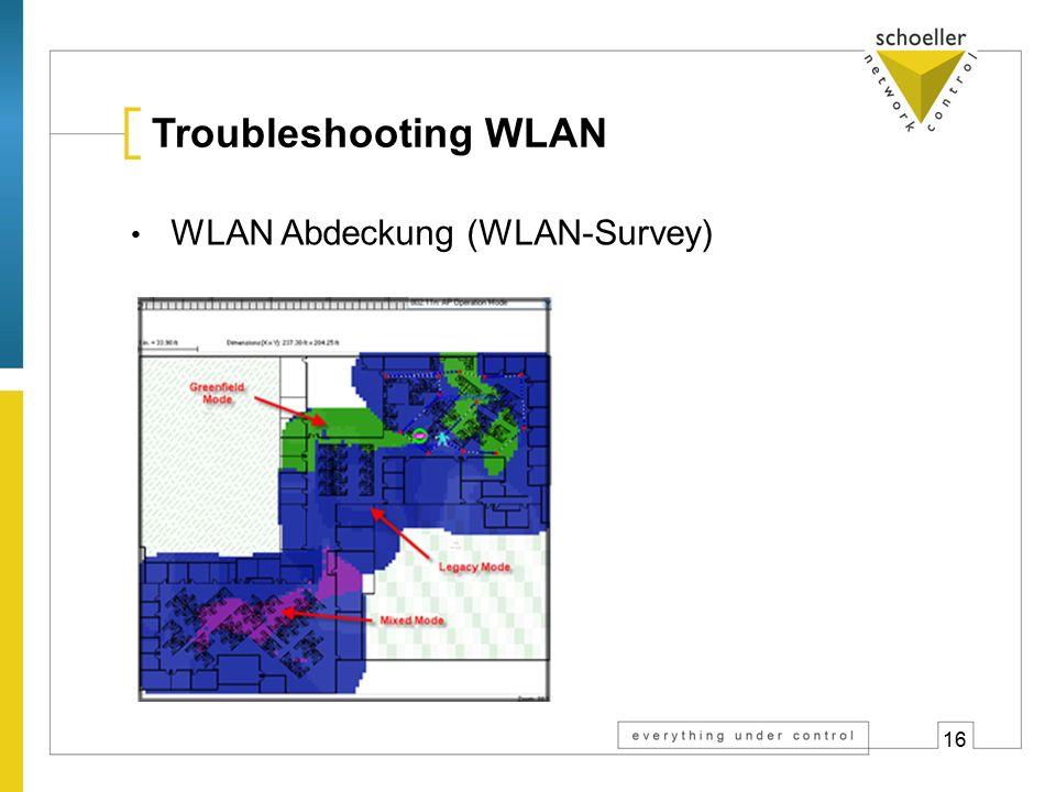 16 Troubleshooting WLAN WLAN Abdeckung (WLAN-Survey)