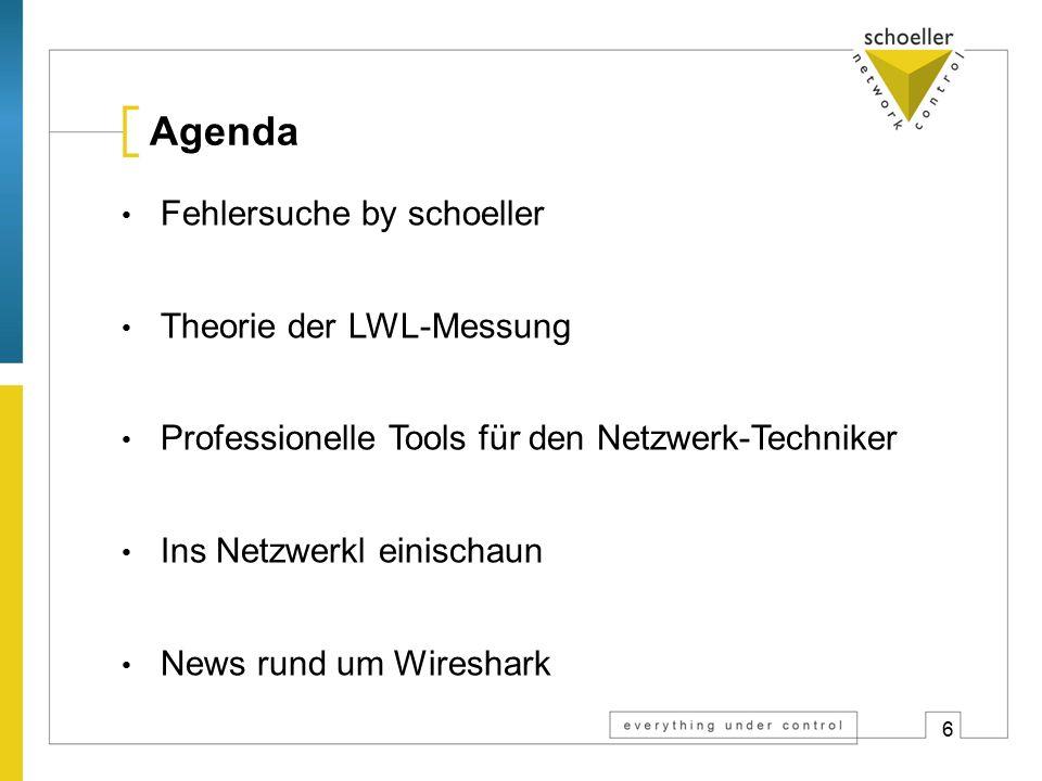 6 Agenda Fehlersuche by schoeller Theorie der LWL-Messung Professionelle Tools für den Netzwerk-Techniker Ins Netzwerkl einischaun News rund um Wireshark