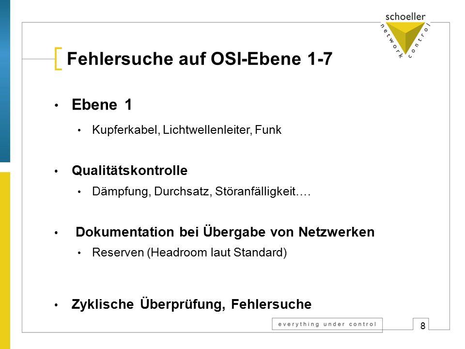 8 Fehlersuche auf OSI-Ebene 1-7 Ebene 1 Kupferkabel, Lichtwellenleiter, Funk Qualitätskontrolle Dämpfung, Durchsatz, Störanfälligkeit…. Dokumentation