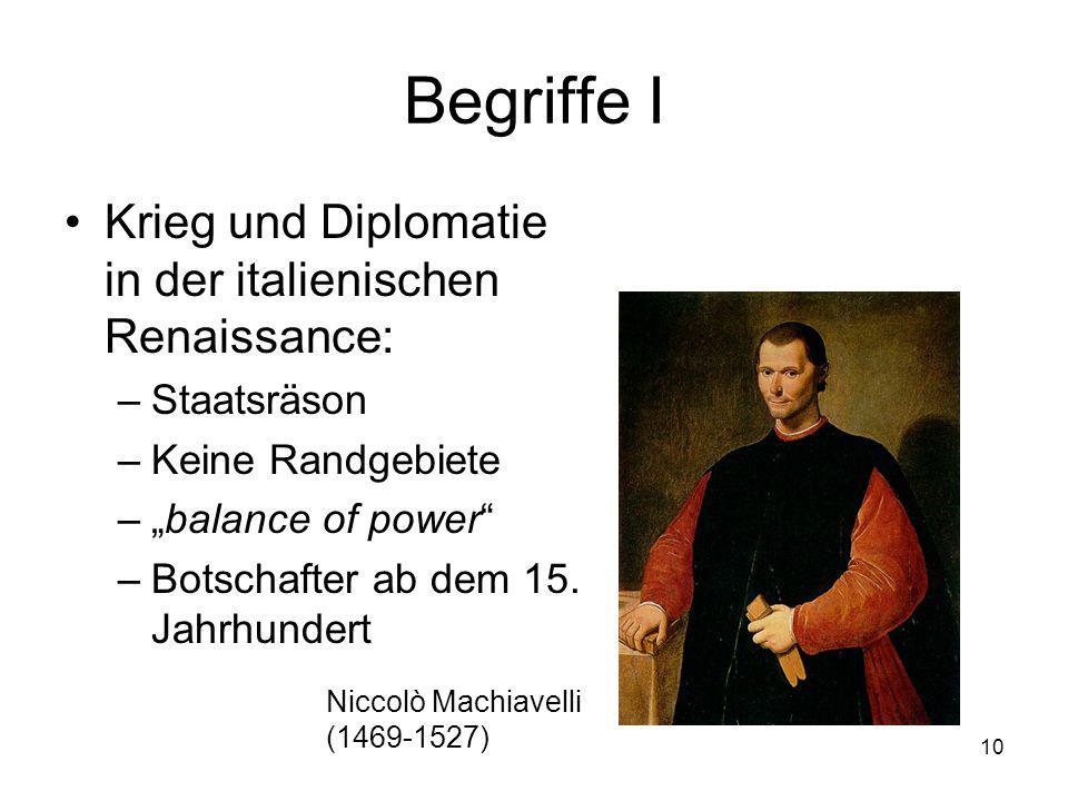 """10 Begriffe I Krieg und Diplomatie in der italienischen Renaissance: –Staatsräson –Keine Randgebiete –""""balance of power"""" –Botschafter ab dem 15. Jahrh"""
