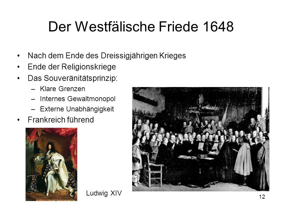 12 Der Westfälische Friede 1648 Nach dem Ende des Dreissigjährigen Krieges Ende der Religionskriege Das Souveränitätsprinzip: –Klare Grenzen –Internes Gewaltmonopol –Externe Unabhängigkeit Frankreich führend Ludwig XIV