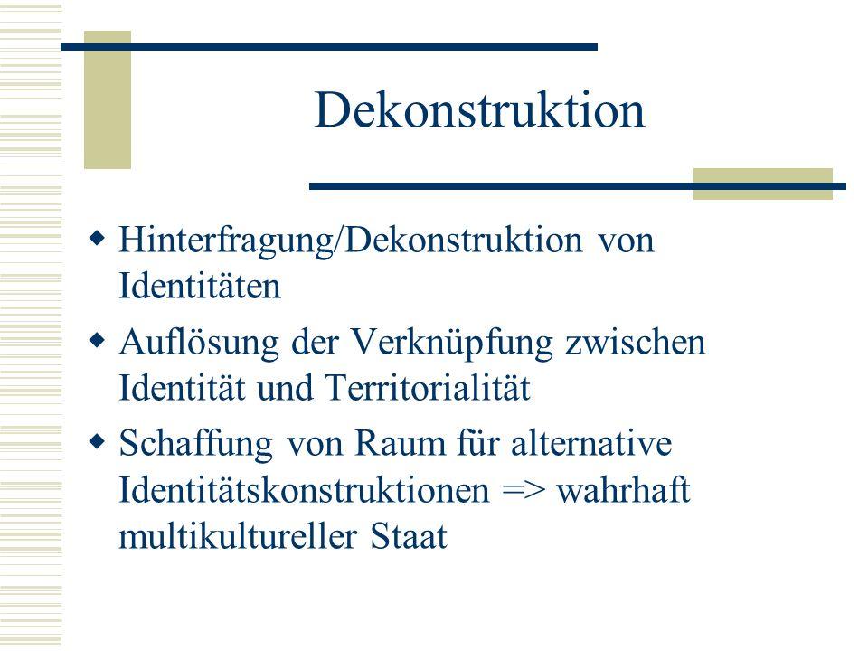 Dekonstruktion  Hinterfragung/Dekonstruktion von Identitäten  Auflösung der Verknüpfung zwischen Identität und Territorialität  Schaffung von Raum für alternative Identitätskonstruktionen => wahrhaft multikultureller Staat
