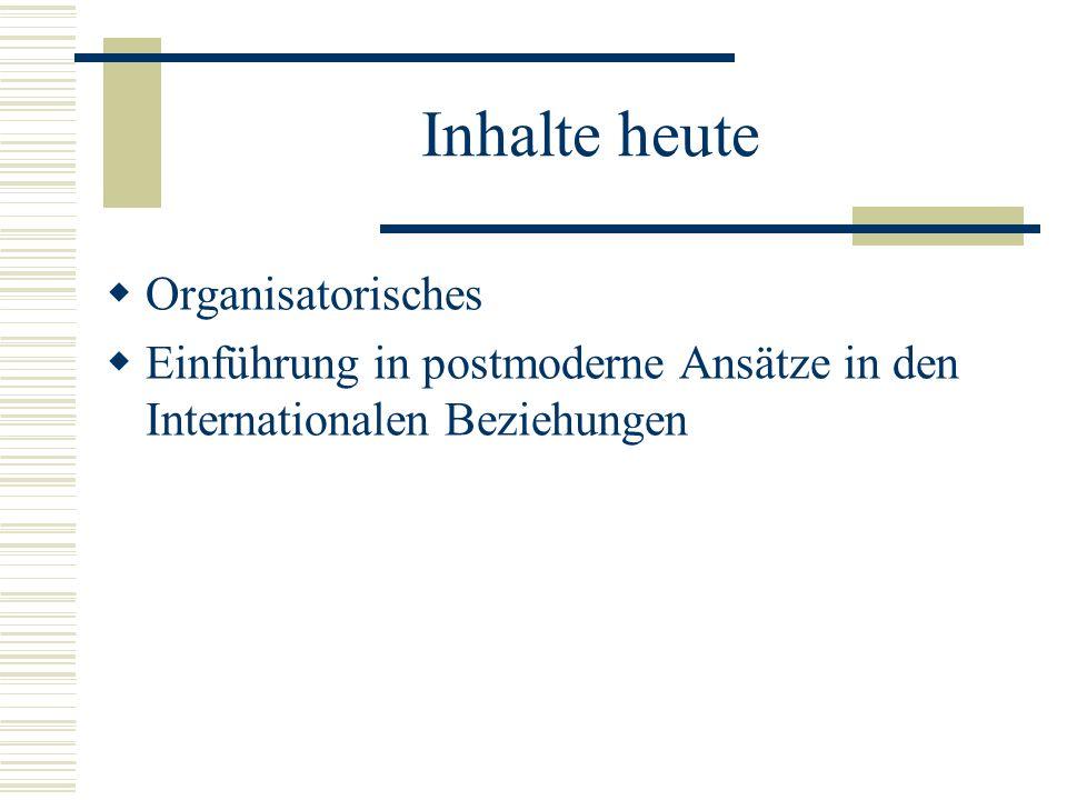 Inhalte heute  Organisatorisches  Einführung in postmoderne Ansätze in den Internationalen Beziehungen