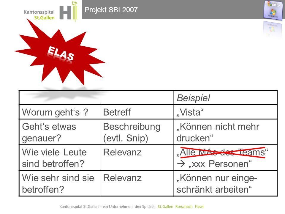 """Projekt SBI 2007 Beispiel Worum geht's Betreff""""Vista Geht's etwas genauer."""