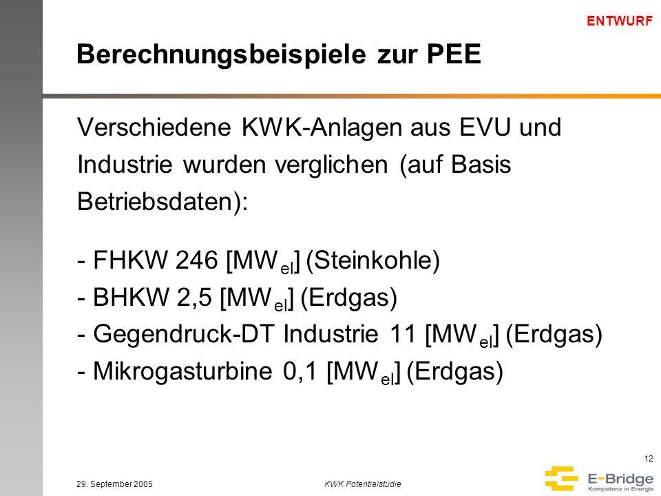 ENTWURF 29. September 2005KWK Potentialstudie 12 Berechnungsbeispiele zur PEE Verschiedene KWK-Anlagen aus EVU und Industrie wurden verglichen (auf Ba
