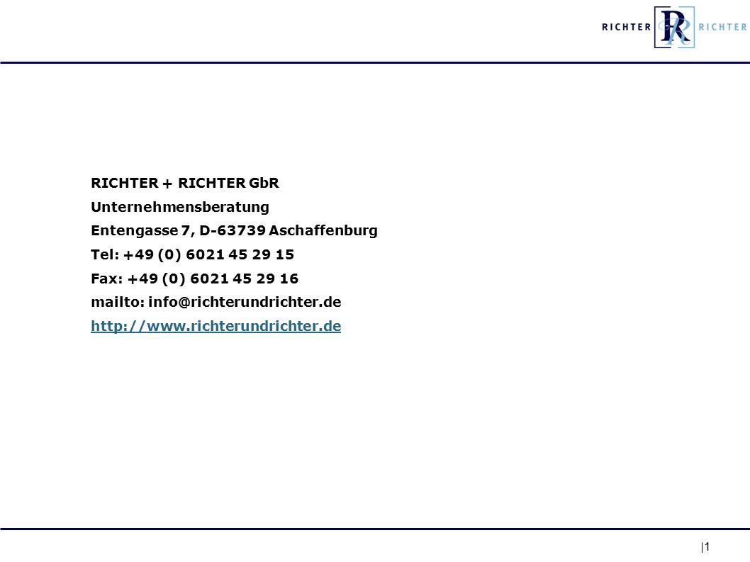 1 RICHTER + RICHTER GbR Unternehmensberatung Entengasse 7, D-63739 Aschaffenburg Tel: +49 (0) 6021 45 29 15 Fax: +49 (0) 6021 45 29 16 mailto: info@richterundrichter.de http://www.richterundrichter.de