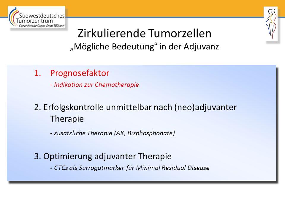 """Zirkulierende Tumorzellen """"Mögliche Bedeutung"""" in der Adjuvanz 1.Prognosefaktor - Indikation zur Chemotherapie 2. Erfolgskontrolle unmittelbar nach (n"""
