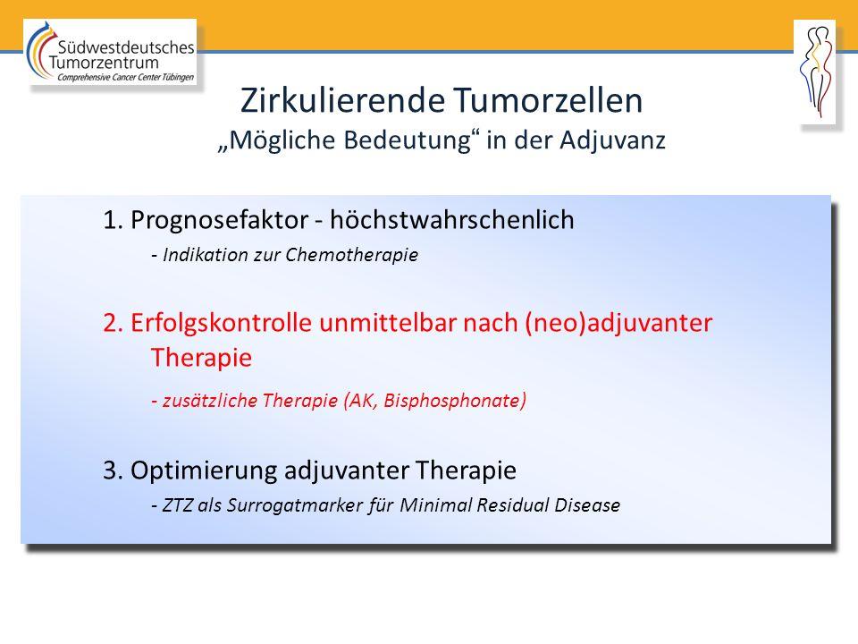 """Zirkulierende Tumorzellen """"Mögliche Bedeutung"""" in der Adjuvanz 1. Prognosefaktor - höchstwahrschenlich - Indikation zur Chemotherapie 2. Erfolgskontro"""