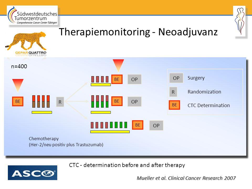 Therapiemonitoring - Neoadjuvanz Chemotherapy (Her-2/neu positiv plus Trastuzumab) BE OP R n=400 Randomization CTC Determination Surgery OP R BE CTC -
