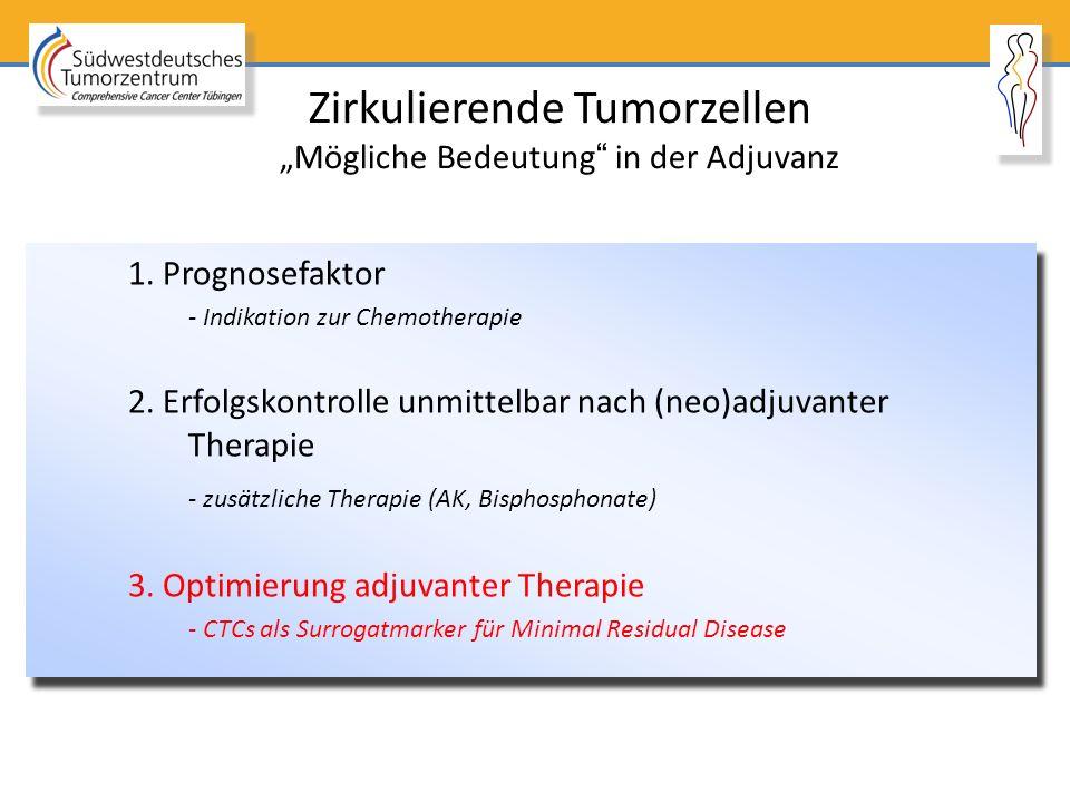 """Zirkulierende Tumorzellen """"Mögliche Bedeutung"""" in der Adjuvanz 1. Prognosefaktor - Indikation zur Chemotherapie 2. Erfolgskontrolle unmittelbar nach ("""