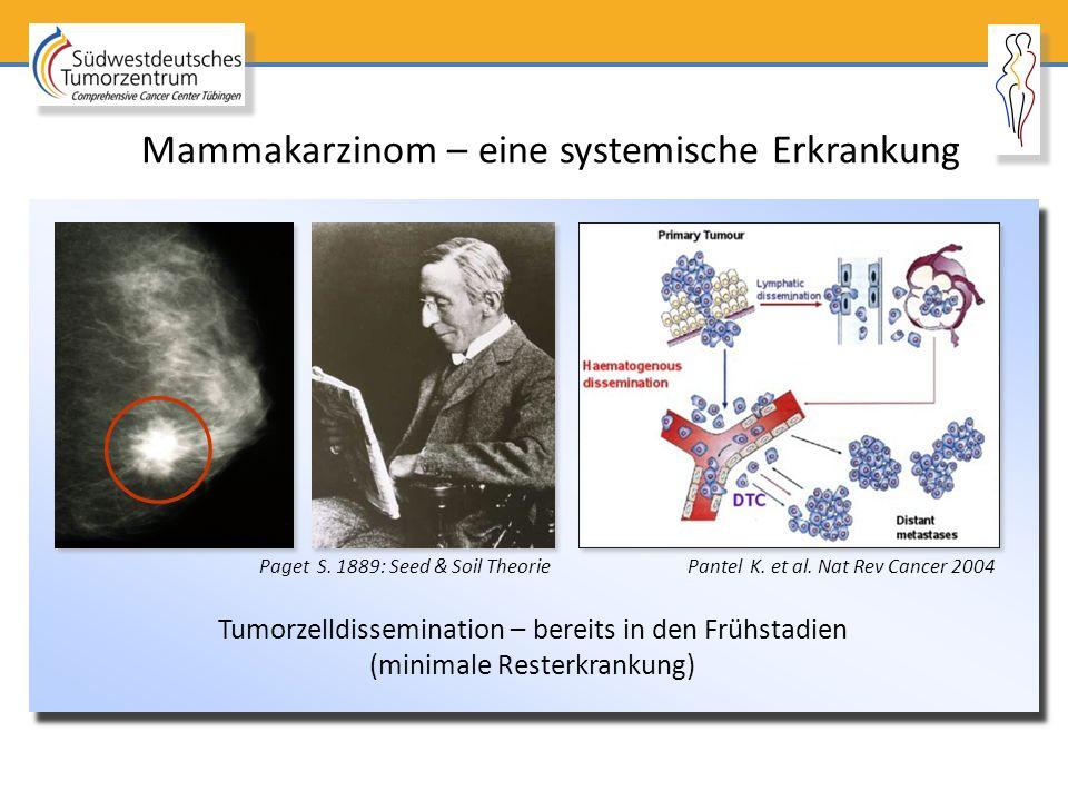 Tumorzelldissemination – bereits in den Frühstadien (minimale Resterkrankung) Pantel K. et al. Nat Rev Cancer 2004Paget S. 1889: Seed & Soil Theorie M
