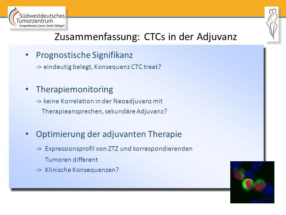 Prognostische Signifikanz -> eindeutig belegt, Konsequenz CTC treat? Therapiemonitoring -> keine Korrelation in der Neoadjuvanz mit Therapieansprechen