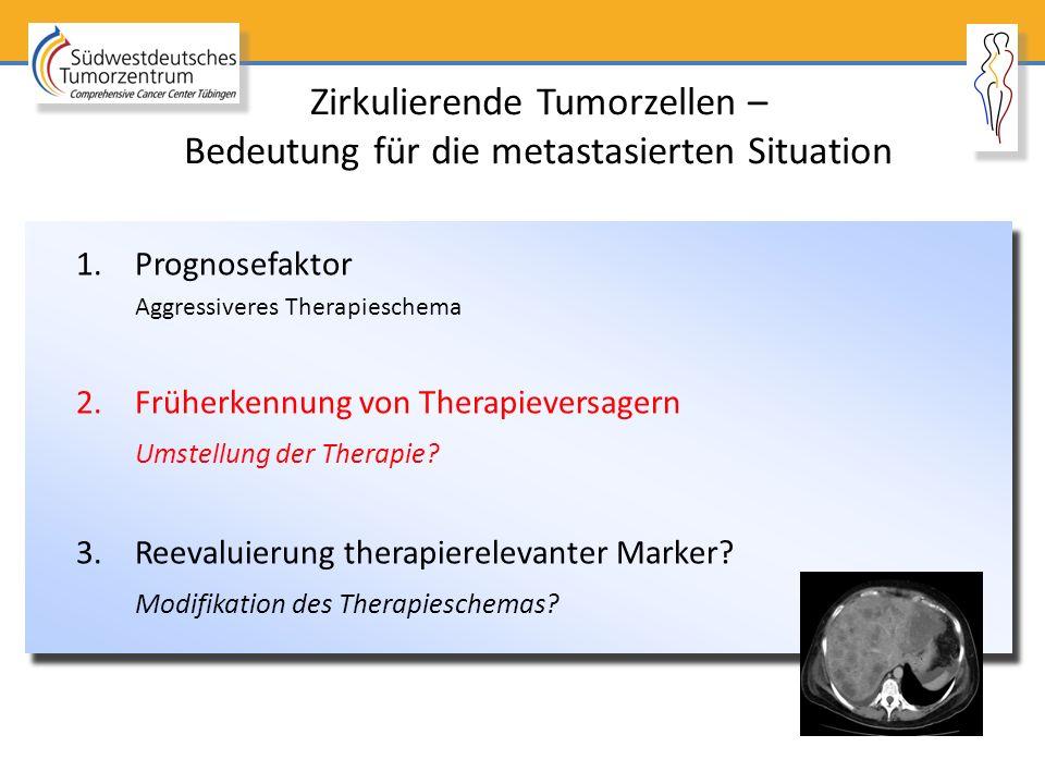 Zirkulierende Tumorzellen – Bedeutung für die metastasierten Situation 1.Prognosefaktor Aggressiveres Therapieschema 2.Früherkennung von Therapieversa