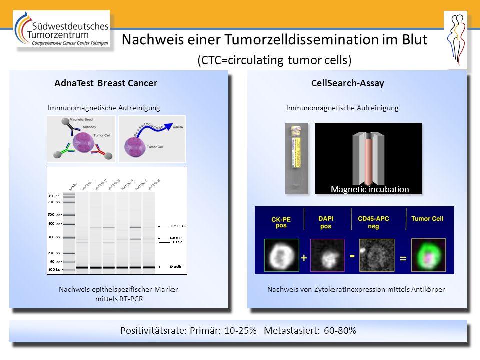Magnetic incubation Positivitätsrate: Primär: 10-25% Metastasiert: 60-80% AdnaTest Breast Cancer Nachweis einer Tumorzelldissemination im Blut (CTC=ci