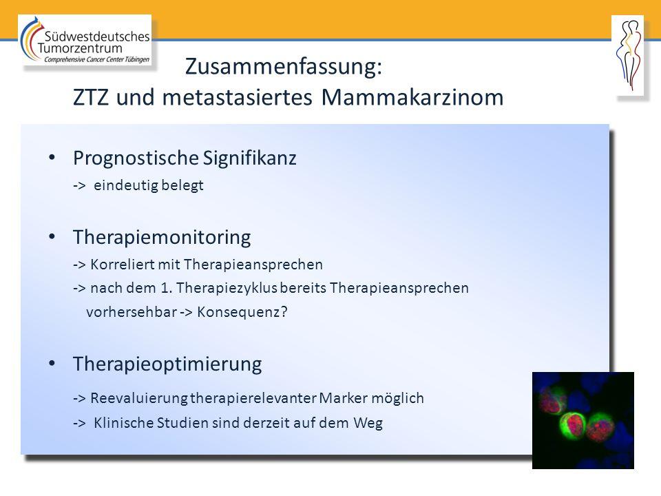 Prognostische Signifikanz -> eindeutig belegt Therapiemonitoring -> Korreliert mit Therapieansprechen -> nach dem 1. Therapiezyklus bereits Therapiean