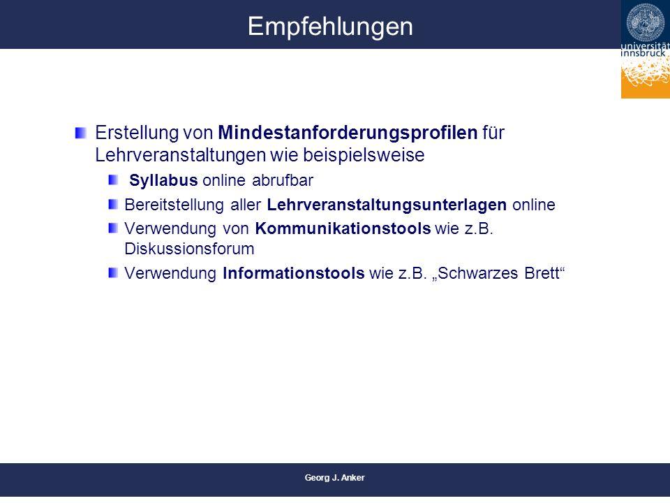 Georg J. Anker Empfehlungen Erstellung von Mindestanforderungsprofilen für Lehrveranstaltungen wie beispielsweise Syllabus online abrufbar Bereitstell