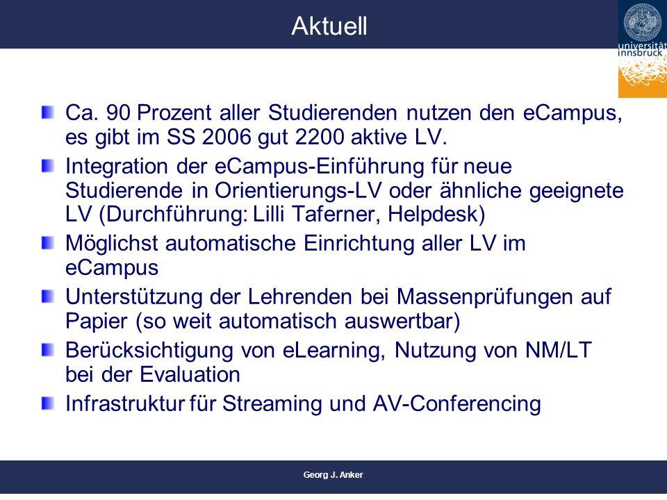 Georg J. Anker Aktuell Ca. 90 Prozent aller Studierenden nutzen den eCampus, es gibt im SS 2006 gut 2200 aktive LV. Integration der eCampus-Einführung