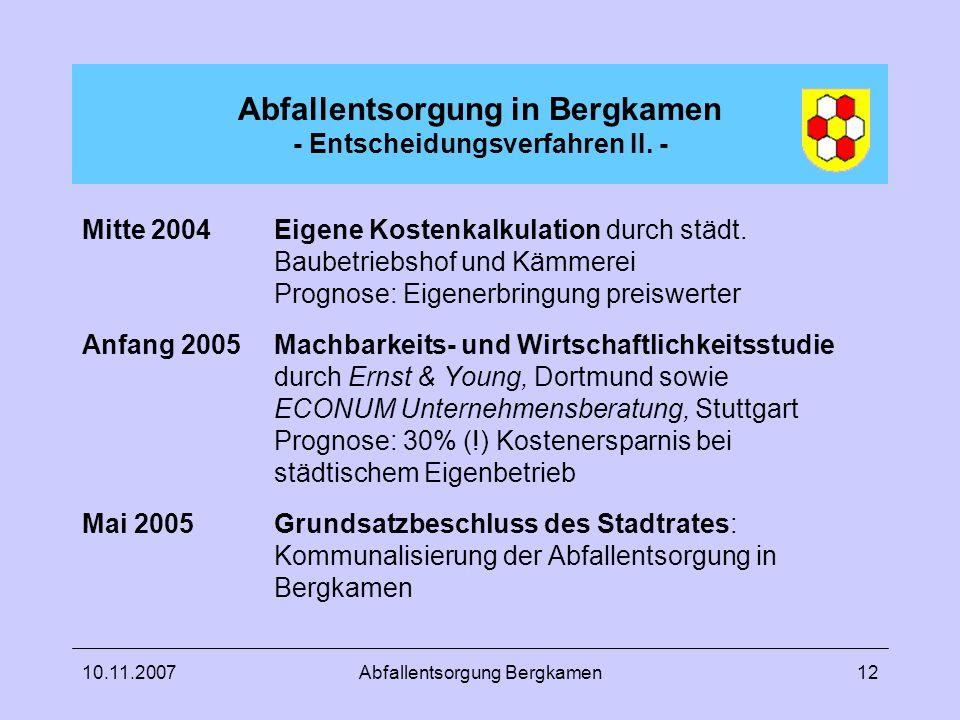 10.11.2007Abfallentsorgung Bergkamen12 Abfallentsorgung in Bergkamen - Entscheidungsverfahren II. - Mitte 2004Eigene Kostenkalkulation durch städt. Ba
