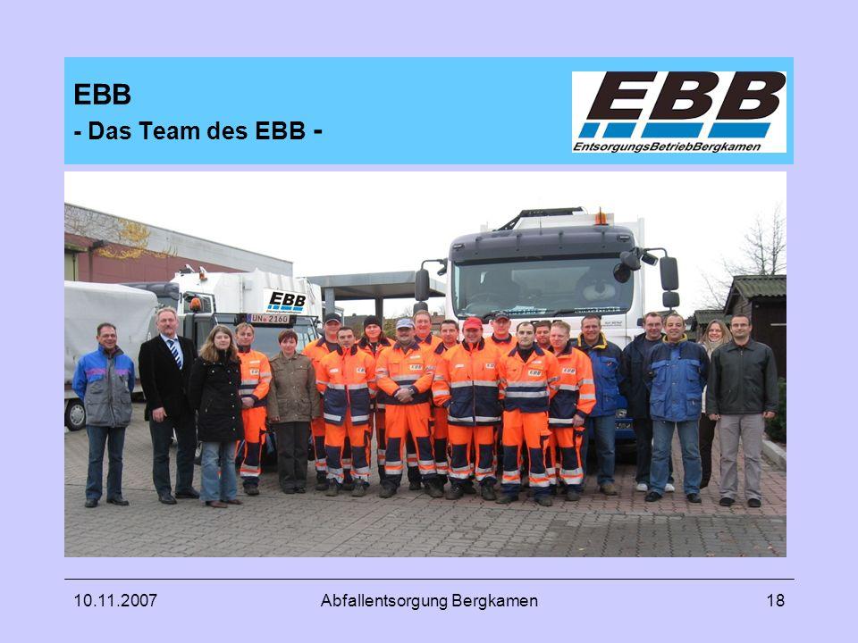 10.11.2007Abfallentsorgung Bergkamen18 EBB - Das Team des EBB -