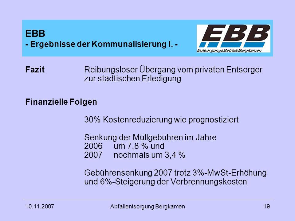 10.11.2007Abfallentsorgung Bergkamen19 EBB - Ergebnisse der Kommunalisierung I. - FazitReibungsloser Übergang vom privaten Entsorger zur städtischen E