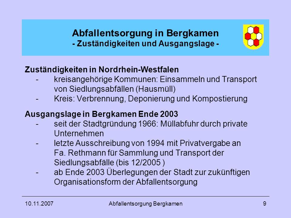 10.11.2007Abfallentsorgung Bergkamen9 Abfallentsorgung in Bergkamen - Zuständigkeiten und Ausgangslage - Zuständigkeiten in Nordrhein-Westfalen -kreis