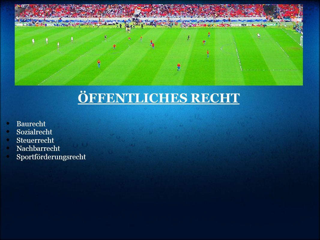 ÖFFENTLICHES RECHT Baurecht Sozialrecht Steuerrecht Nachbarrecht Sportförderungsrecht