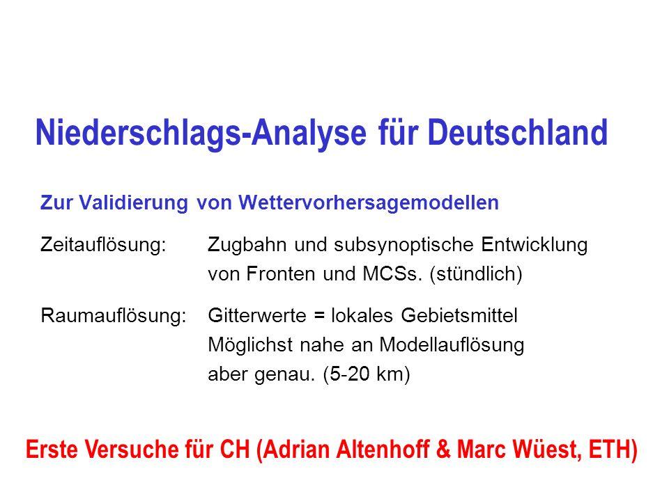 Datenquellen Niederschlagsanalyse für Deutschland DWD  x = einige km Mittel monatlich, Pluviometermessungen DWD (Tagesniederschlag) ca 4000 Stationen, Typ.