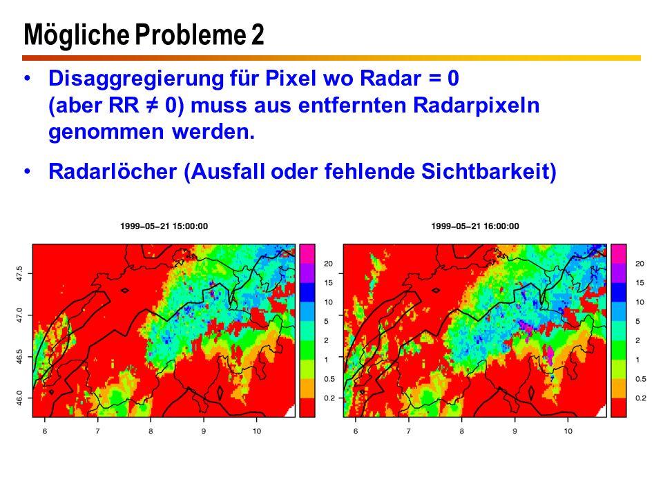 Mögliche Probleme 2 Disaggregierung für Pixel wo Radar = 0 (aber RR ≠ 0) muss aus entfernten Radarpixeln genommen werden. Radarlöcher (Ausfall oder fe