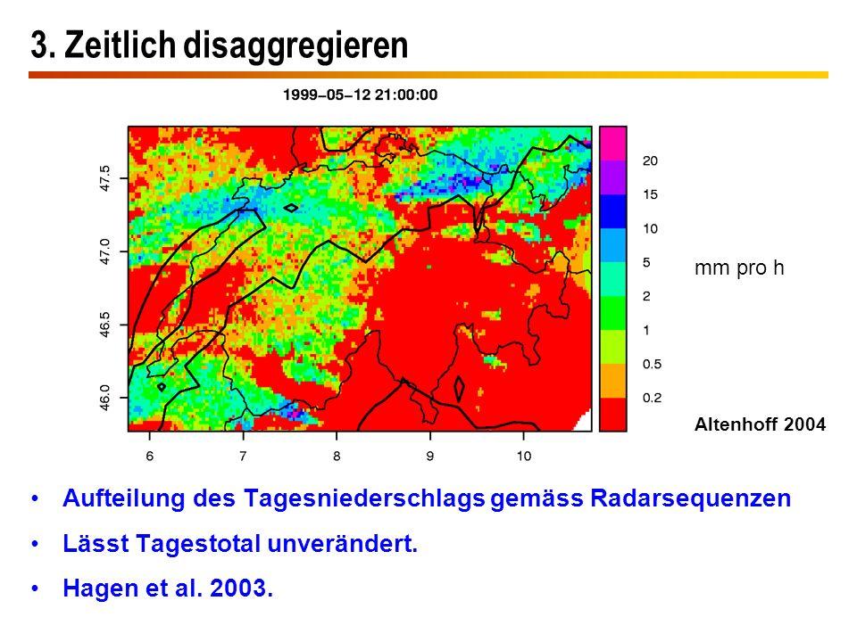 3. Zeitlich disaggregieren Aufteilung des Tagesniederschlags gemäss Radarsequenzen Lässt Tagestotal unverändert. Hagen et al. 2003. mm pro h Altenhoff
