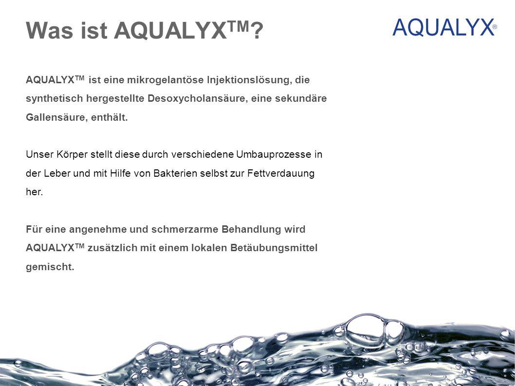 Was ist AQUALYX TM ? AQUALYX TM ist eine mikrogelantöse Injektionslösung, die synthetisch hergestellte Desoxycholansäure, eine sekundäre Gallensäure,