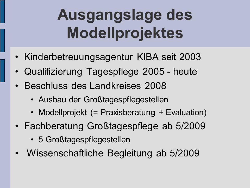 Ausgangslage des Modellprojektes Kinderbetreuungsagentur KIBA seit 2003 Qualifizierung Tagespflege 2005 - heute Beschluss des Landkreises 2008 Ausbau