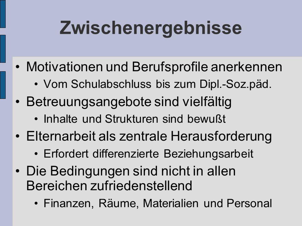 Zwischenergebnisse Motivationen und Berufsprofile anerkennen Vom Schulabschluss bis zum Dipl.-Soz.päd.