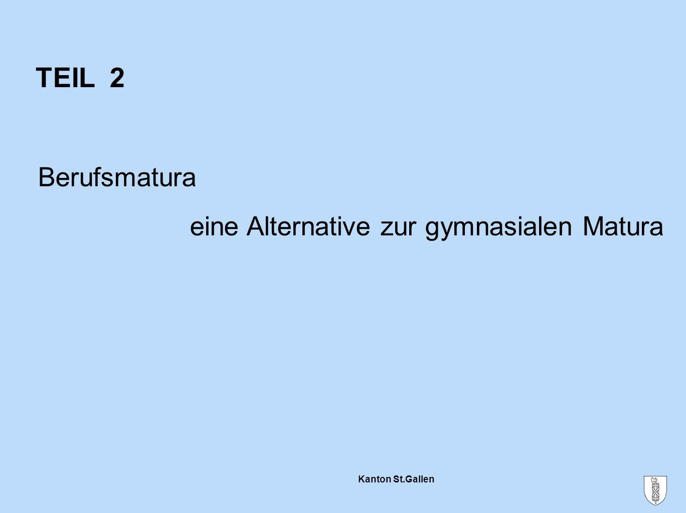 Kanton St.Gallen TEIL 2 Berufsmatura eine Alternative zur gymnasialen Matura