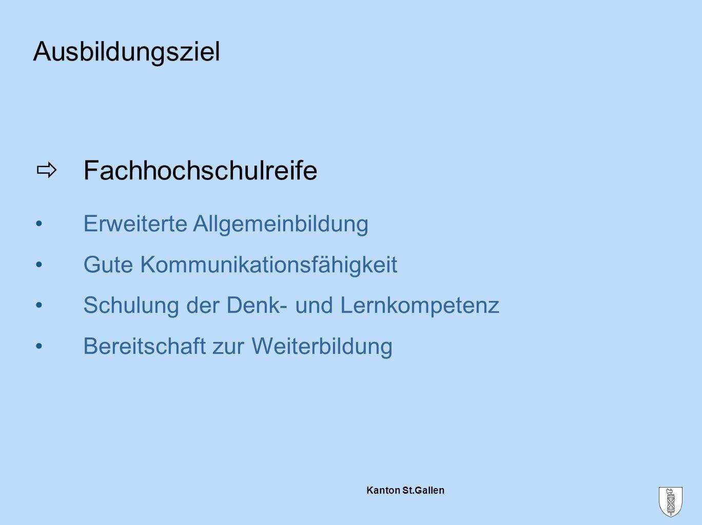 Kanton St.Gallen  Fachhochschulreife Erweiterte Allgemeinbildung Gute Kommunikationsfähigkeit Schulung der Denk- und Lernkompetenz Bereitschaft zur W