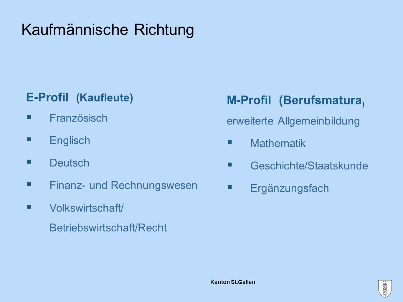 Kanton St.Gallen Kaufmännische Richtung E-Profil (Kaufleute)  Französisch  Englisch  Deutsch  Finanz- und Rechnungswesen  Volkswirtschaft/ Betrie