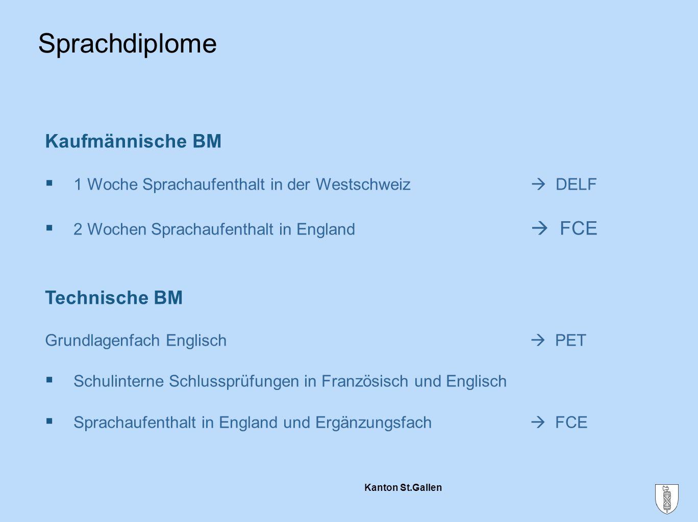 Kanton St.Gallen Sprachdiplome Kaufmännische BM  1 Woche Sprachaufenthalt in der Westschweiz  DELF  2 Wochen Sprachaufenthalt in England  FCE Tech